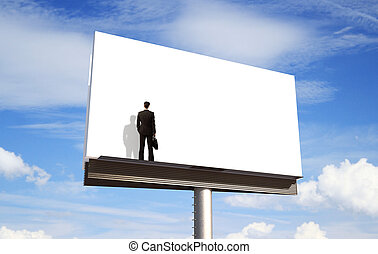 blank billboard - businessman looking on blank billboard