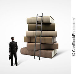 businessman standing near stack of books and ladder