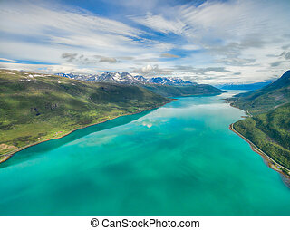 Turquoise waters of norwegian fjord - Aerial view of...
