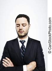 businessman looking down on a white background