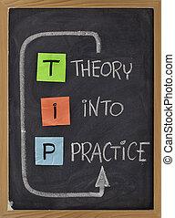 teoría, práctica, -, punta, siglas