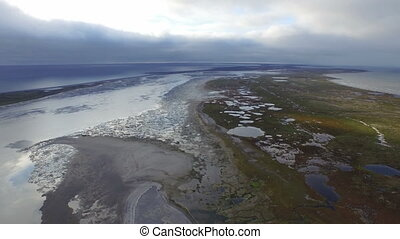Aerial view of tundra near Arctic Ocean