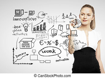 businesswoman drawing business concept on gray background