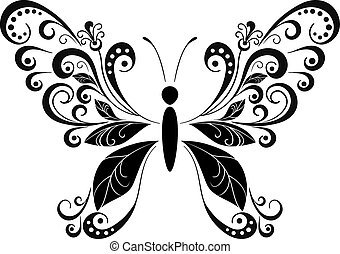 Butterfly Black Pictogram - Symbolical Butterfly with Wings...