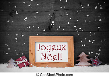 Gray Frame With Joyeux Noel Means Merry Christmas,...
