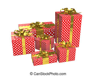 3d red gift boxes with gold ribbon