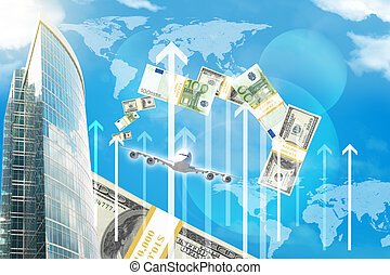 Business center with world map and arrows on blue sky...