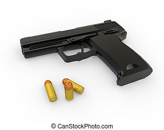 3d handgun and bullets - 3d render of handgun and golden...