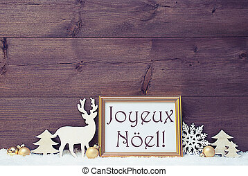 Vintage Card, Snow, Joyeux Noel Mean Merry Christmas -...