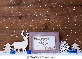 Christmas Card With Blue Decoration, Happy New Year,...