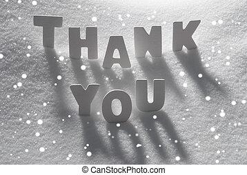 White Word Thank You On Snow, Snowflakes - White Letters...