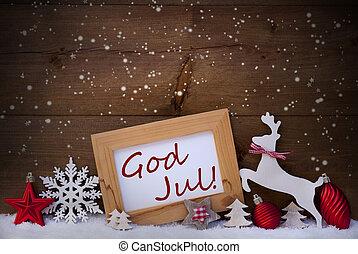 Bold, Gud, jul, Dekoration, Reindeer, Merry, Jul, Rød,...