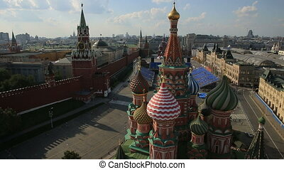 Red Square and Kremlin, aerial view HD