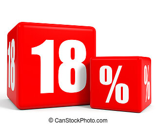 Red sale cubes Eighteen percent discount 3D illustration