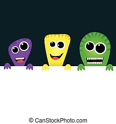 Cute cartoon monsters with banner