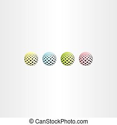 colorful ball circle with square halftone vector