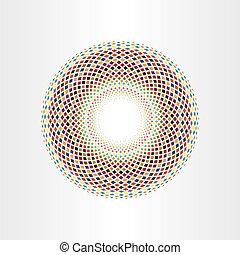 colorful halftone squares circle abstract background vector