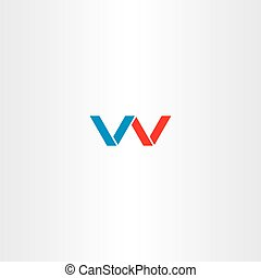 double letter v or w logo vector emblem