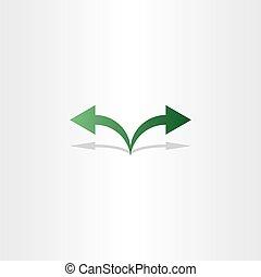 green arrow left right icon logo sign
