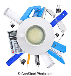 Coffee cup with office supplies
