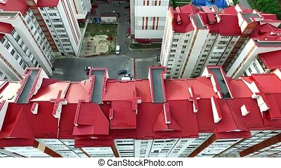 aerial shot of few buildings - aerial shot of a few...
