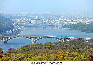Metro bridge Kyiv, Ukraine - Aerial view of Metro bridge,...