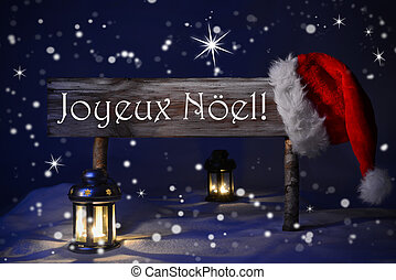 Sign Candlelight Santa Hat Joyeux Noel Means Merry Christmas...