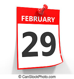 29 february calendar sheet with red pin. - 29 february...