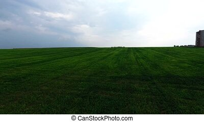 aerial shot of green field - aerial shot of a green field in...