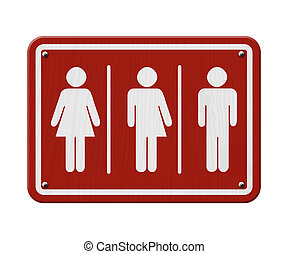 Transgender Sign, Red and White Sign with a woman, male and...