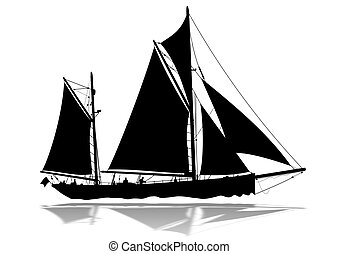 Sailing Boat silhouette - Detailed sailing boat silhouette...