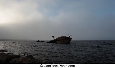 Shipwreck - Old shipwreck on Canadian coastline.