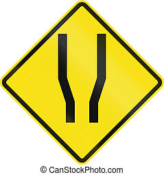 Road Widens On Both Sides In Chile - Chilean road warning...