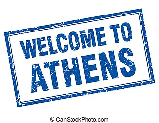 Athens blue square grunge welcome isolated stamp