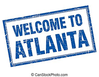 Atlanta blue square grunge welcome isolated stamp