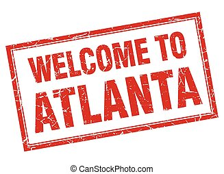 Atlanta red square grunge welcome isolated stamp