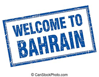 Bahrain blue square grunge welcome isolated stamp