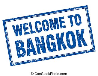 Bangkok blue square grunge welcome isolated stamp