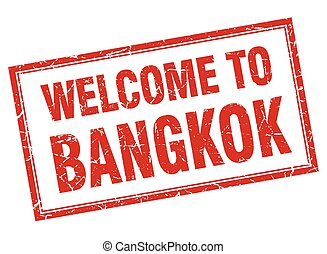 Bangkok red square grunge welcome isolated stamp