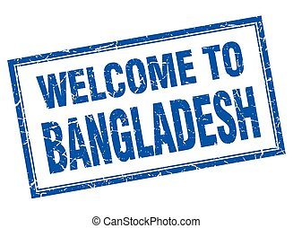 Bangladesh blue square grunge welcome isolated stamp