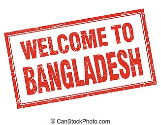 Bangladesh red square grunge welcome isolated stamp