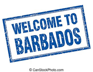 Barbados blue square grunge welcome isolated stamp