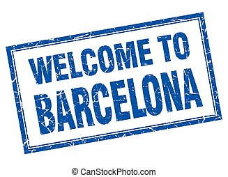 Barcelona blue square grunge welcome isolated stamp