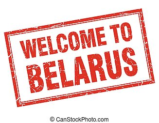 Belarus red square grunge welcome isolated stamp