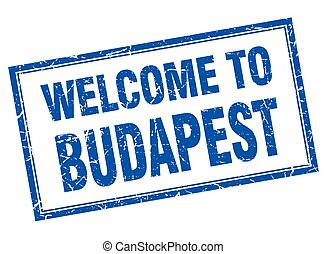 Budapest blue square grunge welcome isolated stamp