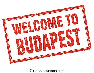 Budapest red square grunge welcome isolated stamp