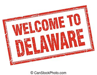 Delaware red square grunge welcome isolated stamp