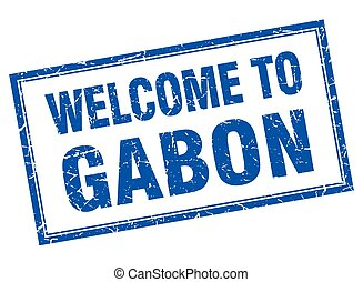 Gabon blue square grunge welcome isolated stamp