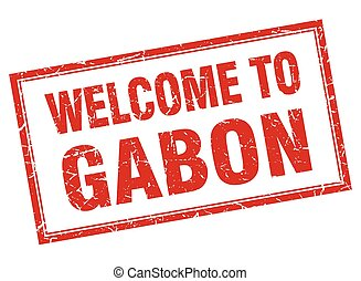 Gabon red square grunge welcome isolated stamp