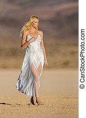 Blonde Model in Desert - A blonde model posing in a desert...
